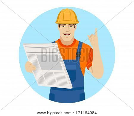 Builder reading a newspaper and showing his index finger up. Portrait of builder in a flat style. Vector illustration.