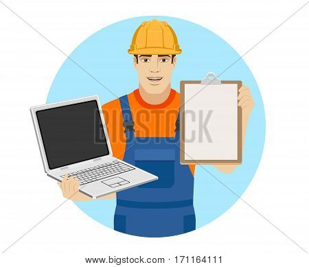 Builder holding a laptop and clipboard. Portrait of builder in a flat style. Vector illustration.