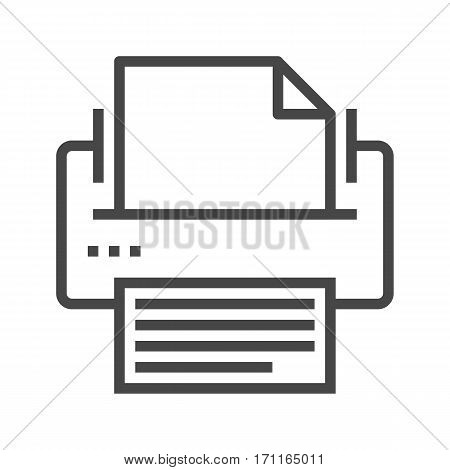 Printer Thin Line Vector Icon Isolated on the White Background.