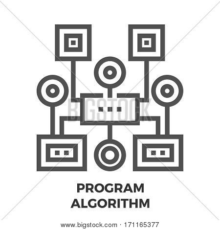 Program Algorithm Thin Line Vector Icon Isolated on the White Background.