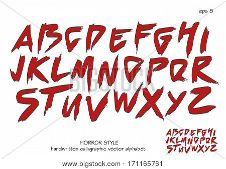 Alphabet vector set of red capital handwritten letters on white background. Handwritten italic font with brush strokes in horror style.