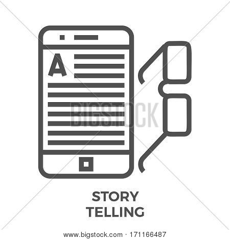 Story Telling Thin Line Vector Icon Isolated on the White Background.