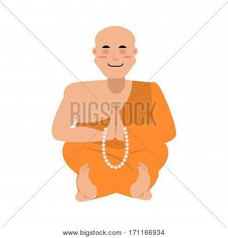 Buddhist Monk Meditating. Zen And Enlightenment. Orange Cape And Rosary. Tibetan Priest