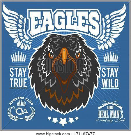 Eagle head - T-shirt print with hunting club on dark background
