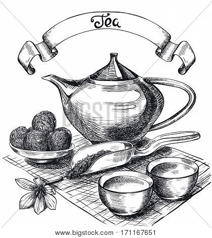 tea pu-erh. set of vector sketches on a white background