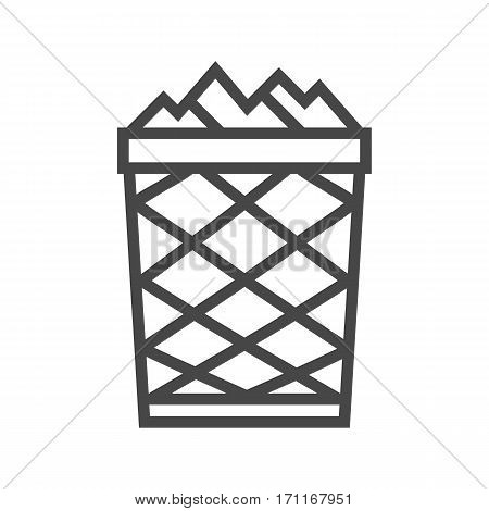 Trash Can Thin Line Vector Icon Isolated on the White Background.