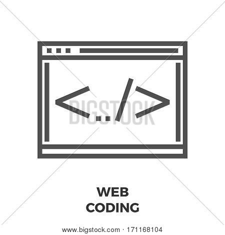 Web Coding Thin Line Vector Icon Isolated on the White Background.