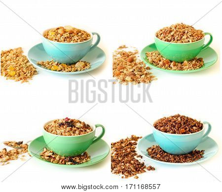 Collage of 4 different types of granola chocolate, eastern, hawaiian and berry isolated on white background. Horizontal.