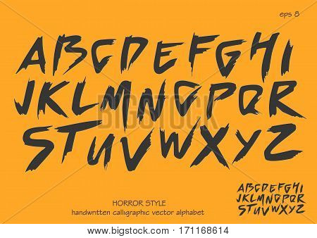 Alphabet vector set of black capital handwritten letters on yellow background. Handwritten italic font with brush strokes in horror style.