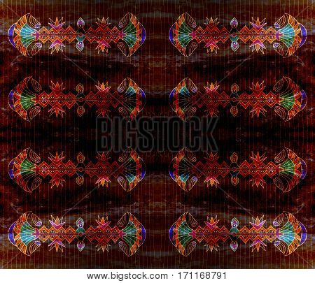 Ancient Egyptian linear symmetrical flower pattern. Dark. Grunge background with stripes.