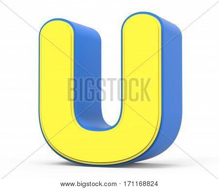 Cute Yellow Letter U