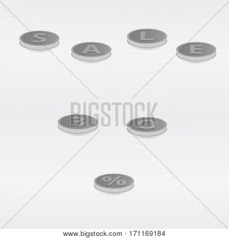 Vector illustration lettering silver coins sale and thirty percent on a light gray background.