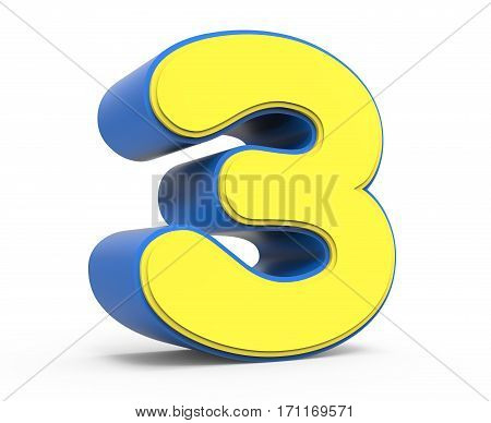 Cute Yellow Number 3
