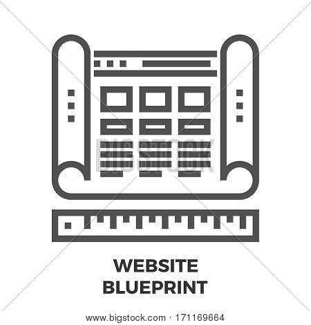 Website Blueprint Thin Line Vector Icon Isolated on the White Background.