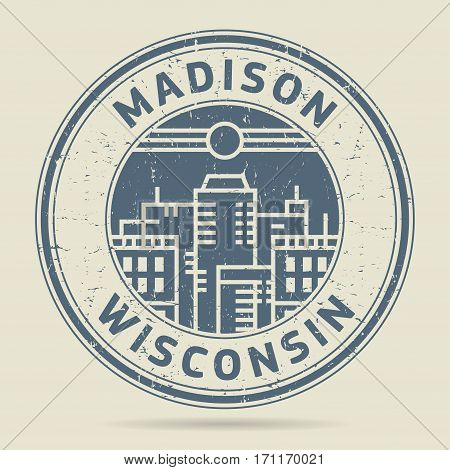 Grunge rubber stamp or label with text Madison Wisconsin written inside vector illustration