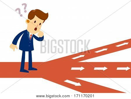 Vector stock of a businessman feeling confused in front of crossroad