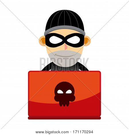 Vector stock of a criminal with mask working behind laptop
