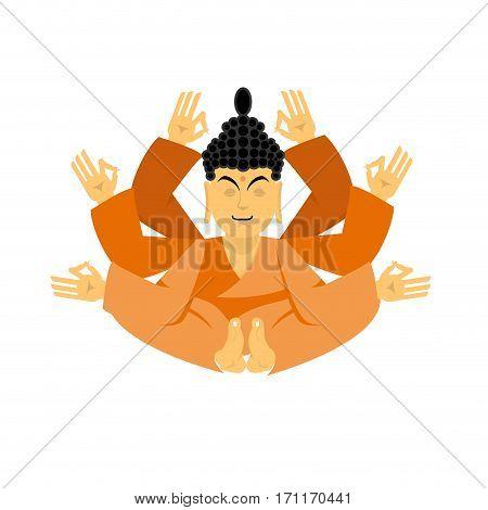 Buddha Lotus Pose Yoga Isolated. Zen And Relaxation. Indian God