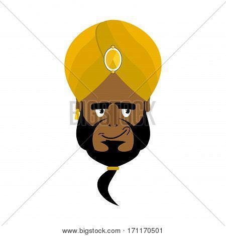 Indian Face In Turban Happy Emoji. Head Man Of India Merry Emotion Isolated