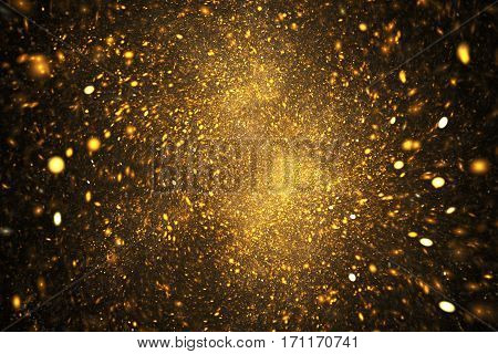 Supernova Explosion. Abstract Colorful Golden Sparks On Black Background. Fantasy Fractal Texture Fo
