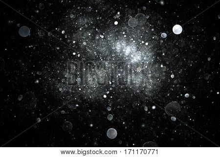 Abstract Glowing Silver Sparks And Bubbles On Black Background. Digital Fractal Art. 3D Rendering.