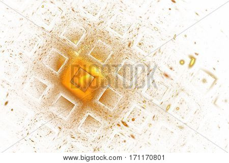 Abstract Geometric Texture With Golden Sparkles On White Background. Fantasy Fractal Design. Digital