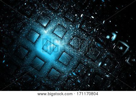 Abstract Geometric Texture With Blue Sparkles On Black Background. Fantasy Fractal Design. Digital A