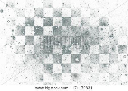 Abstract Geometric Texture With Silver Sparkles On White Background. Fantasy Fractal Design. Digital
