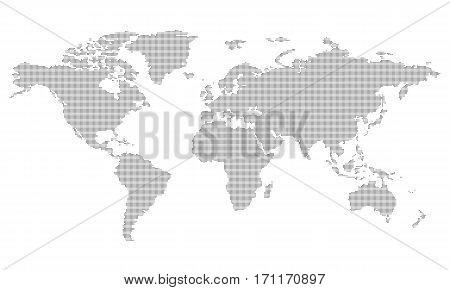 Pictogram - World map, Line, Stroke, Dash fine - Object Icon Symbol