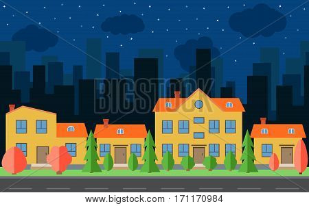 Vector night city with cartoon houses and buildings with red and green trees and shrubs. City space with road on flat style background concept. Summer urban landscape. Street view with cityscape on a background