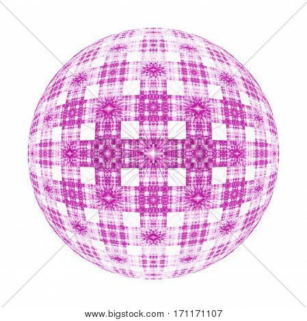 Abstract Ornamented Sphere On White Background. Fantasy Fractal Design In Pink Colors. Psychedelic D