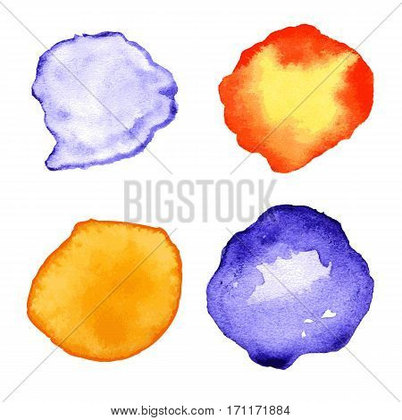 Set with orange and purple watercolor splashes, spots, dots isolated on white background. Vector hand drown illustration