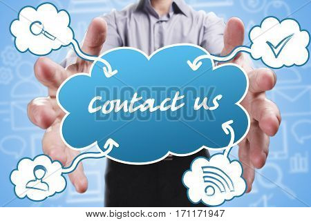 Business, Technology, Internet And Marketing. Young Businessman Thinking About: Contact Us