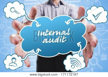 Business, Technology, Internet And Marketing. Young Businessman Thinking About: Internal Audit