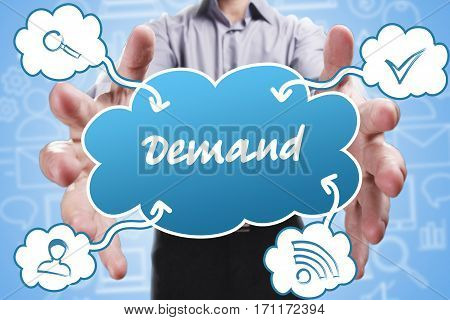 Business, Technology, Internet And Marketing. Young Businessman Thinking About: Demand