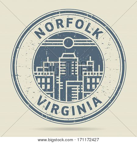 Grunge rubber stamp or label with text Norfolk Virginia written inside vector illustration