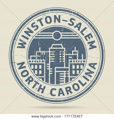 Grunge rubber stamp or label with text Winston-Salem North Carolina written inside vector illustration