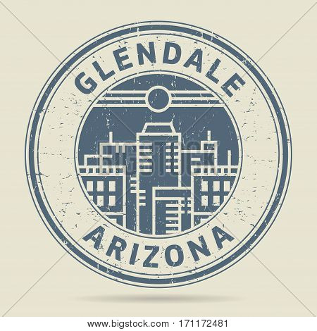 Grunge rubber stamp or label with text Glendale Arizona written inside vector illustration