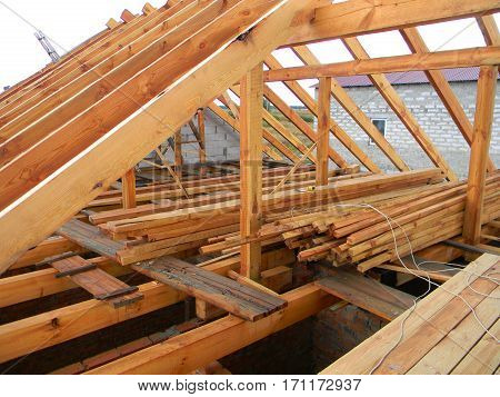 Attic Construction. House Roof trusses. Roofing Construction.