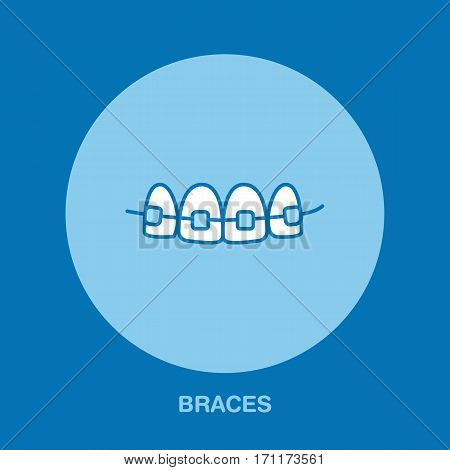 Dentist, orthodontics line icon of braces, teeth alignment. Dental care equipment sign, medical elements. Health care thin linear symbol for dentistry clinic.