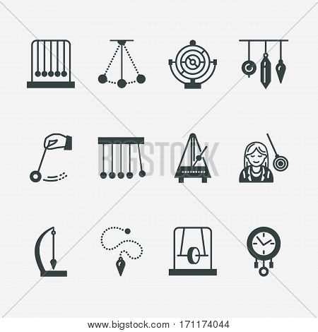 Vector flat line icon of pendulum types. Newton cradle, metronome, table pendulum, perpetuum mobile, gyroscope. Linear pictogram editable stroke for site, brochure of hypnosis, hypnotherapy.