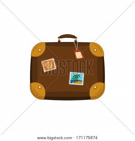 Brown travel bag suitcase with stickers, tag, label on isolated white background. Summer handle luggage. Travel concept. Flat vector icon illustration.