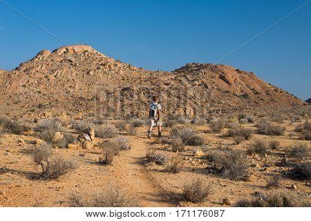 One Person Hiking In The Namib Desert, Namib Naukluft National Park, Namibia. Adventure And Explorat
