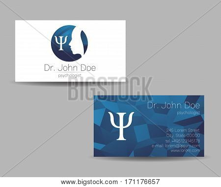 Psychology vector visit card. Modern sign . Creative style. Design concept. Brand company. Blue color isolated on grey background. Symbol for web, print. visiting personal set illustration