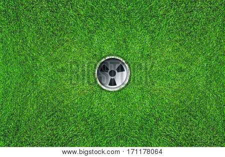 Golf hole on green grass of golf course. Top View of golf hole on green field.