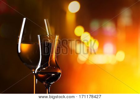 Glasses With Drinks On A Background Of Night City