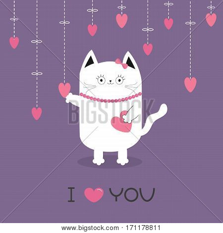 White cat Hanging pink hearts. Dash line. Heart set Cute cartoon character. Kawaii animal. I love you text. Greeting card. Happy Valentines Day. Flat design style. Violet background. Isolated. Vector