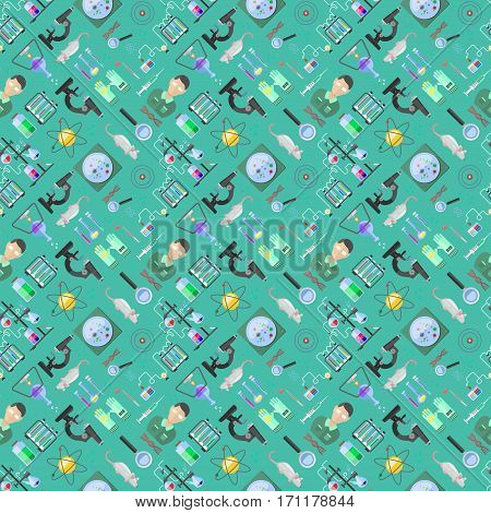 Science background biology research molecular design. Laboratory seamless pattern biotechnology graphic symbols. Vector scientific dna structure cell medical atom.