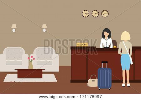 Hotel reception. Young woman receptionist stands at reception desk. There are two armchairs and table with flowers also in the picture. Travel, hospitality, hotel booking concept. Vector illustration