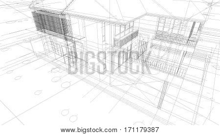 Abstract 3D render of building wireframe structure. Construction graphic idea for template design.